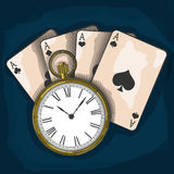 Old pocket watch and playing cards Royalty Free Stock Photography