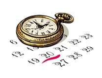 Old pocket watch is sitting on a calendar. Deadline concept. Time and planning. Vector. royalty free illustration