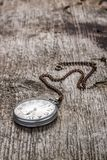 Old pocket watch at wood background Stock Image