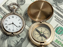 Free Old Pocket Watxh And Ancient Compass On Dollars Stock Photos - 9142543