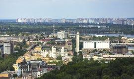 Old Podil district of Kiev, Ukraine. Industrial and river port in Kiev Royalty Free Stock Image