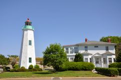 Old Point Comfort Lighthouse, VA, USA. Old Point Comfort Lighthouse in Fort Monroe, Hampton, Chesapeake Bay, Virginia, USA Royalty Free Stock Photography