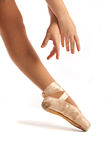Old Pointe Ballet Hands and Foot Closeup Royalty Free Stock Images