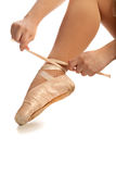 Old Pointe Ballet Hands and Foot Closeup Stock Image