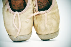 Old pointe shoes Stock Photos