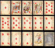 Old Poker Playing Cards - Diamonds royalty free stock images