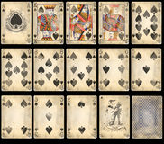 Old Poker Playing Cards - Spades royalty free stock photography