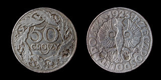 Old poland coin. Of 50 groszy Royalty Free Stock Photo