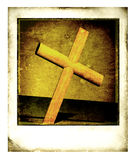 Old Polaroid Frame. With Holy cross Stock Image