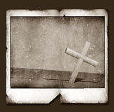 Old Polaroid Frame with Holy cross Stock Images