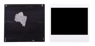 Old Polaroid. Front and back of an old polaroid instant photo isolated on white royalty free stock photo