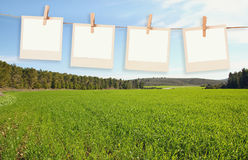 Old polaroid photo frames hanging on a rope in front of open field landscape background Royalty Free Stock Images