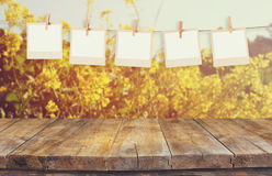 Old polaroid photo frames hnaging on a rope with vintage wooden board table in front of summer flowers field bloom landscape.  stock images