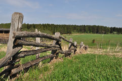 Old Pole Fence On Outskirts Stock Images