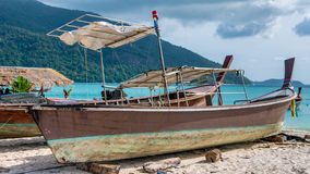Old Police Boat on Sand Beach, Koh Lipe Thailand. Old Police Boat on Sand Beach on Koh Lipe Thailand Royalty Free Stock Images