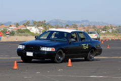 Old Police Car. Competing in an autocross race Royalty Free Stock Photo