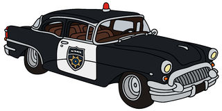 Old police car. Hand drawing of a classic american police car Royalty Free Stock Photography