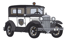 Old police car. Hand drawing of a vintage police car - not a real type Stock Image