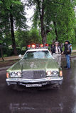 Old police car with red lights on Royalty Free Stock Photos