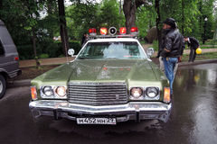 Old police car with red lights on Royalty Free Stock Images