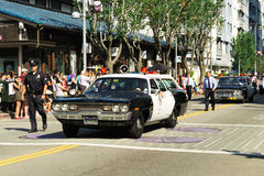 Old police car in the 73th Annual Nisei Week Grand Parade Royalty Free Stock Photo