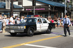 Old police car at 73th Annual Nisei Week Grand Parade Royalty Free Stock Image