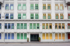 Old police station, Singapore. Colorful windows of old police station in Singapore stock photography