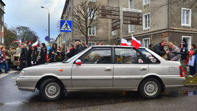 Old Polish car Polonez during a parade Royalty Free Stock Photo