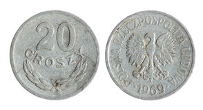 Old Polish coin (1969 year). Old Polish, Poland, grosz, penny  coin on the white background (1969 year Stock Image