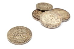 Old polish coins collection isolated on white background Royalty Free Stock Images