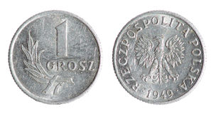 Old Polish penny coin (1949 year). Old Polish, Poland, grosz, penny coin on the white background (1949 year royalty free stock images