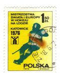 Old polish stamp. Hokey katowice stock images