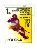 Old polish stamp. Hokey katowice royalty free stock photo
