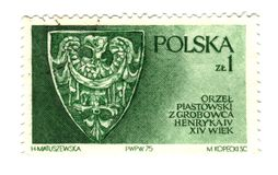 Old polish stamp with eagle. Shield Royalty Free Stock Photo