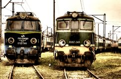 Old Polish trains Stock Image