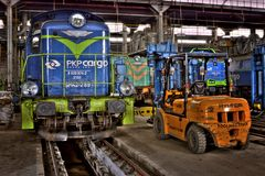 Old Polish trains Stock Photo
