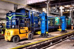 Old Polish trains in service hall Royalty Free Stock Photos