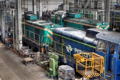 Old Polish trains in service hall Royalty Free Stock Photography