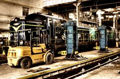 Old Polish trains in service hall Stock Photography