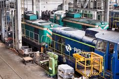 Old Polish trains in service hall Stock Image