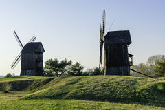 Old Polish windmills in Lednogora. Old windmills in Lednogóra, Poland stock image