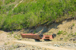 Old pontoons abandoned beside an old gold mine in northern bc Royalty Free Stock Photos
