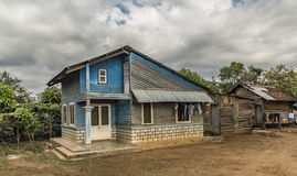 Old poor blue house near Da Lat Stock Photo