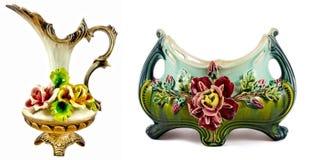 Old porcelain bowl and mug. Flower-decorated Royalty Free Stock Image