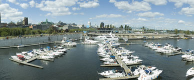 Old Port. Panoramic view of the Old Port of Montreal in Quebec Canada stock photo