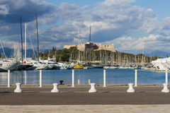 Old Port of Antibes. Great view of Old Port of Antibes on a gorgeous autumn day Royalty Free Stock Photos