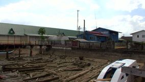 Old port in Bartica town in Guyana, South America stock video footage
