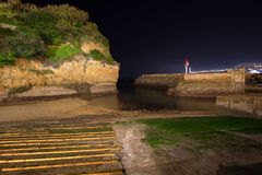 Old port of Biarritz in France at night Royalty Free Stock Photos