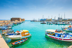 Old port with boats in Heraklion, Crete Stock Image