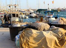 Old port. A busy picture of a fishing port, great for backgrounds or wallpaper Stock Photography